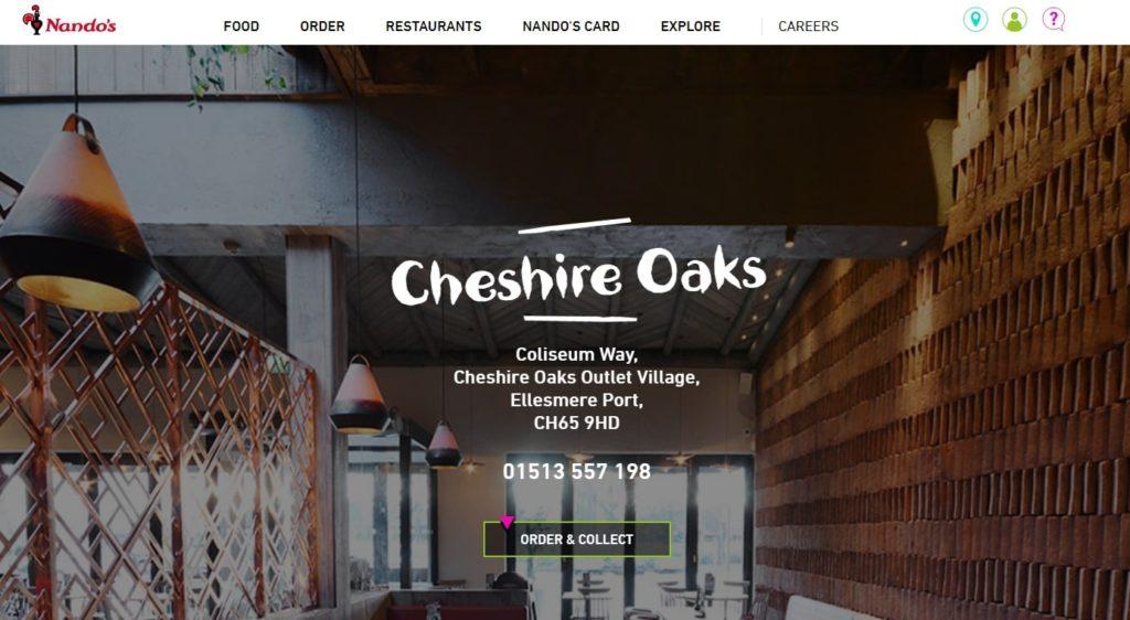 Nandos restaurants at Cheshire Oaks